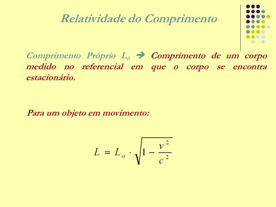 Relatividade do Comprimento Comprimento Próprio L 0  Comprimento de um corpo medido no referencial em que o corpo se encontra estacionário. Para um o
