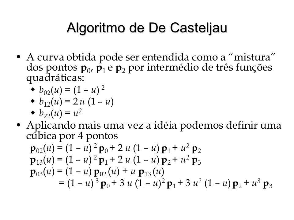 """Algoritmo de De Casteljau A curva obtida pode ser entendida como a """"mistura"""" dos pontos p 0, p 1 e p 2 por intermédio de três funções quadráticas:  b"""