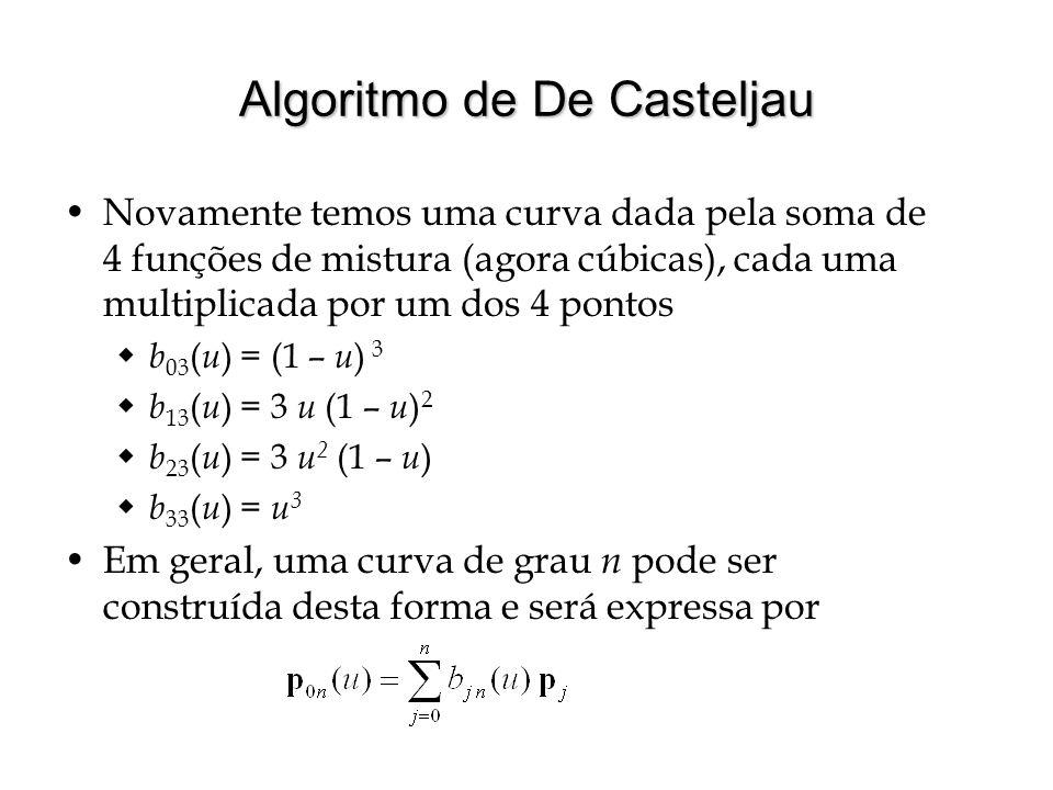 Curvas de Bézier e Polinômios de Bernstein As curvas construídas pelo algoritmo de De Casteljau são conhecidas como curvas de Bézier e as funções de mistura são chamadas de base Bézier ou polinômios de Bernstein Observamos que os polinômios de Bernstein de grau n têm como forma geral b i n ( u ) = c i u i (1 – u ) n – i Se escrevermos as constantes c i para os diversos polinômios, teremos  1 o grau: 1 1  2 o grau: 1 2 1  3 o grau: 1 3 3 1  4 o grau: 1 4 6 4 1 Vemos que o padrão de formação corresponde ao Triângulo de Pascal e portanto, podemos escrever