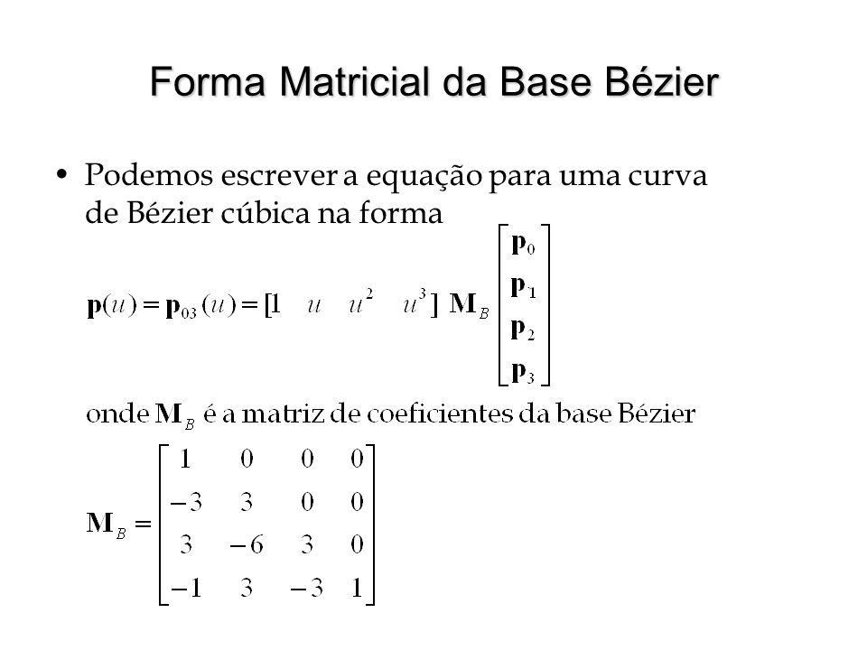 Propriedades de Curva de Bézier Continuidade infinita (todas as derivadas são contínuas) O grau da curva (do polinômio) é dado pelo número de pontos do polígono de controle menos 1 A curva de Bézier está contida no fecho convexo do polígono de controle  Os polinômios de Bernstein somam 1 para qualquer u A curva interpola o primeiro e último ponto do polígono de controle