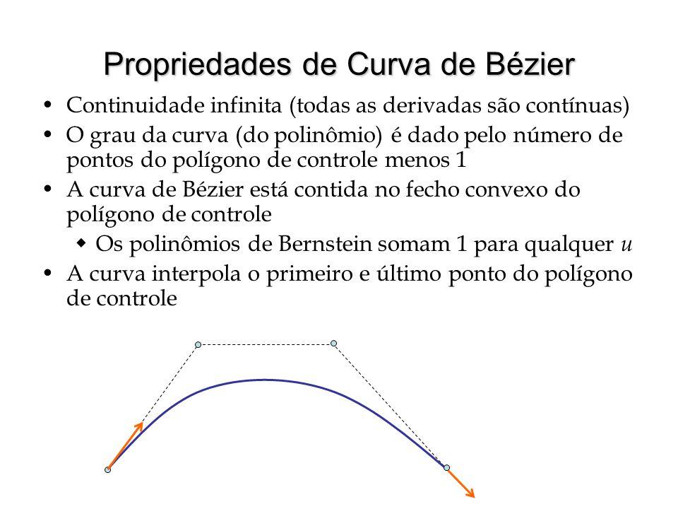 Propriedades de Curva de Bézier As tangentes à curva em p 0 e p n têm a direção dos segmentos de reta p 0 p 1 e p n -1 p n, respectivamente  Para cúbicas, as derivadas são 3( p 1 – p 0 ) e 3( p 2 – p 3 ) Qualquer linha reta intercepta a curva tantas ou menos vezes quanto intercepta o polígono de controle  Não pode oscilar demasiadamente Transformar os pontos de controle (transf.
