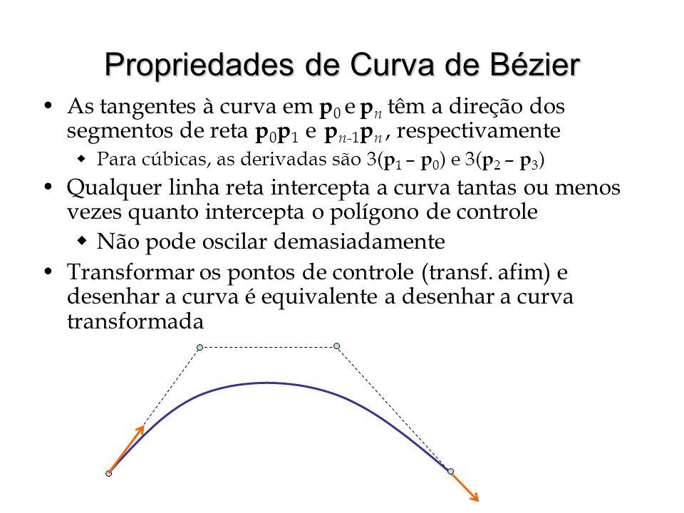 Propriedades de Curva de Bézier As tangentes à curva em p 0 e p n têm a direção dos segmentos de reta p 0 p 1 e p n -1 p n, respectivamente  Para cúb