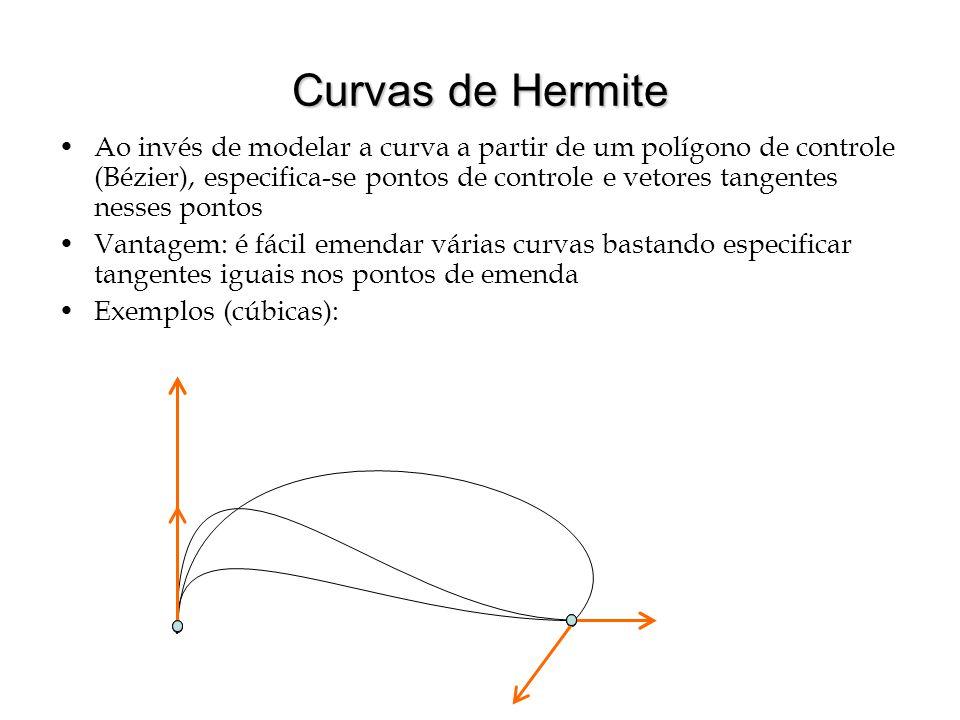 Curvas de Hermite Ao invés de modelar a curva a partir de um polígono de controle (Bézier), especifica-se pontos de controle e vetores tangentes nesse