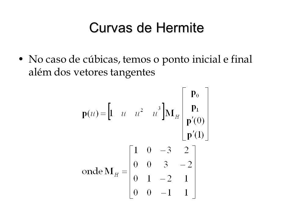 Curvas de Hermite No caso de cúbicas, temos o ponto inicial e final além dos vetores tangentes