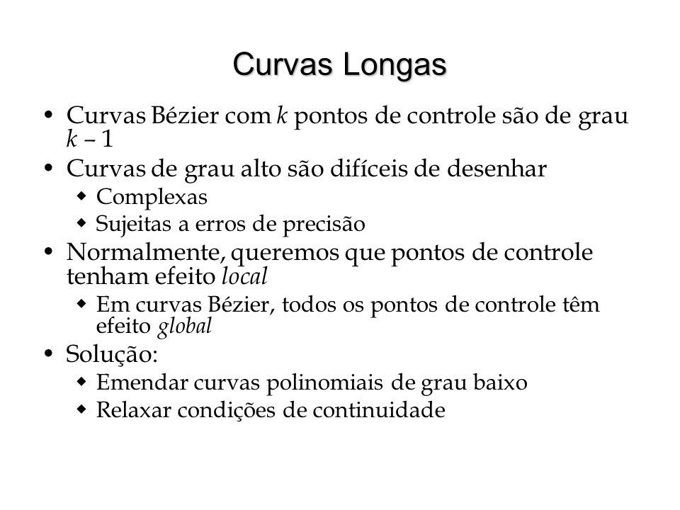 Curvas Longas Curvas Bézier com k pontos de controle são de grau k – 1 Curvas de grau alto são difíceis de desenhar  Complexas  Sujeitas a erros de