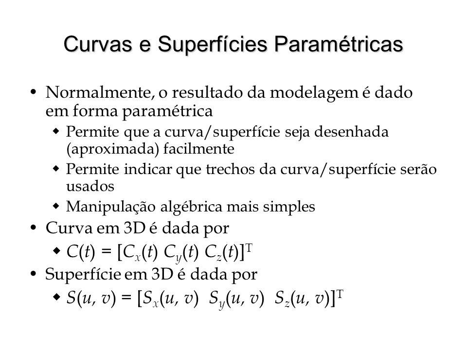 Continuidade Normalmente queremos curvas e superfícies suaves Critério de suavidade associado com critério de continuidade algébrica  Continuidade C 0 → funções paramétricas são contínuas, isto é, sem pulos  Continuidade C 1 → funções paramétricas têm primeiras derivadas contínuas, isto é, tangentes variam suavemente  Continuidade C k → funções paramétricas têm k 'ésimas derivadas contínuas Alternativamente, G k : continuidade geométrica  Independente de parametrização  Assumir curva parametrizada por comprimento de arco C0C0 C1C1 C2C2