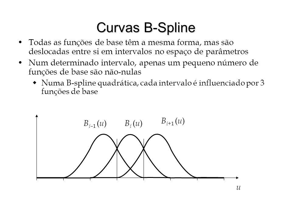 Curvas B-Spline Os valores u i do espaço de parâmetro que delimitam os intervalos são chamados de nós Podemos pensar em intervalos regulares por enquanto (B-Splines uniformes) isto é, u i = 1 u B i ( u ) B i+ 1 ( u ) B i– 1 ( u ) u i–1 uiui u i+1 u i+2 u i+3 u i+4