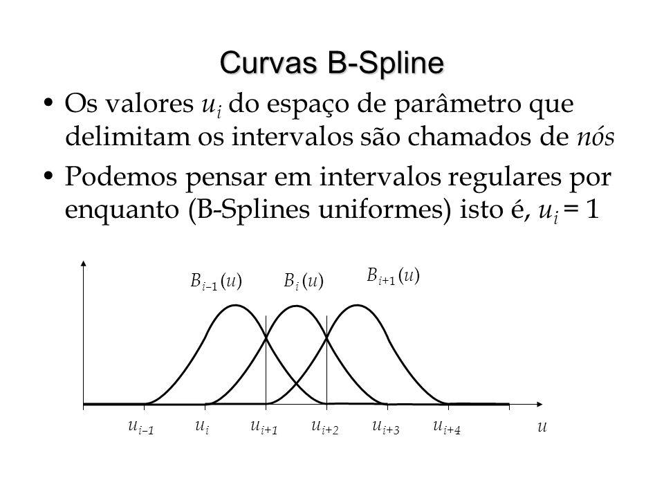 Funções da Base B-Spline Queremos exprimir curvas como pontos mesclados por intermédio de funções da base B-Spline onde m é o número de pontos do polígono de controle e d é o grau da B-spline que se quer usar Para derivar as funções da base B-spline pode-se resolver um sistema de equações  Para B-splines cúbicas, requere-se continuidade C 2 nos nós, a propriedade do fecho convexo, etc Uma maneira mais natural é utilizar a recorrência de Cox-de Boor que exprime as funções da base B-Spline de grau k como uma intepolação linear das funções de grau k-1