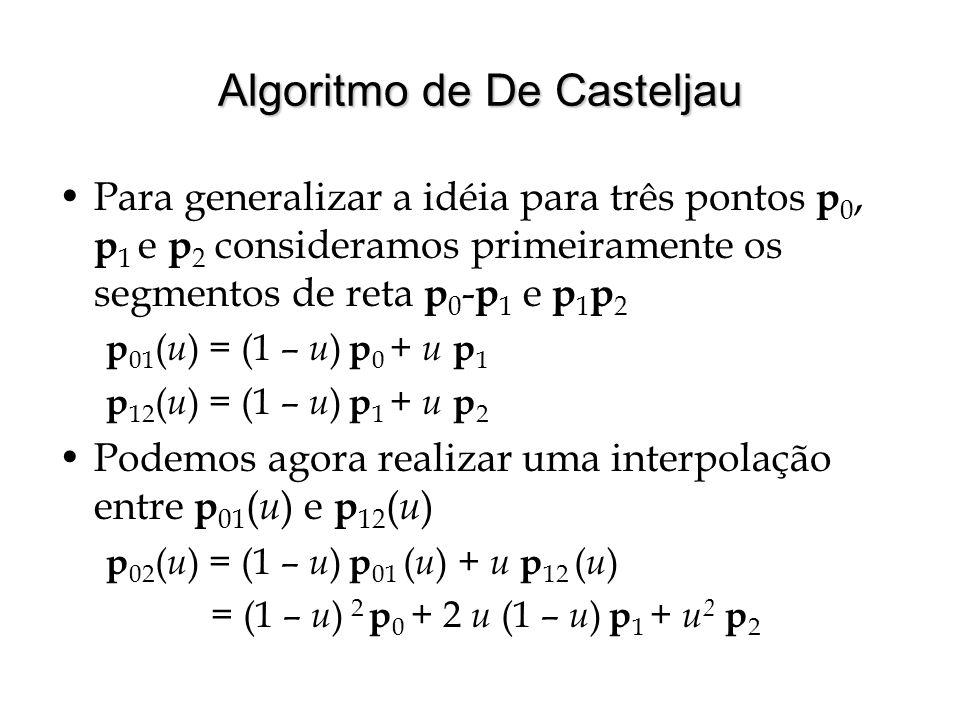 Algoritmo de De Casteljau Para generalizar a idéia para três pontos p 0, p 1 e p 2 consideramos primeiramente os segmentos de reta p 0 - p 1 e p 1 p 2