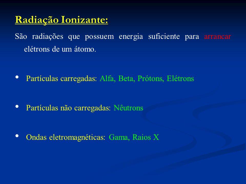 Radiação de Pósitron Radiação de Pósitron Denominação dada ao elétron com carga positiva emitido pelo núcleo do átomo - partícula leve Denominação dada ao elétron com carga positiva emitido pelo núcleo do átomo - partícula leve Possui uma carga positiva Possui uma carga positiva Perde energia para o meio rapidamente – elétrons livres do meio - processo de aniquilação de pares Perde energia para o meio rapidamente – elétrons livres do meio - processo de aniquilação de pares Pequeno poder de ionização - produção de pequena densidade de ionizações.