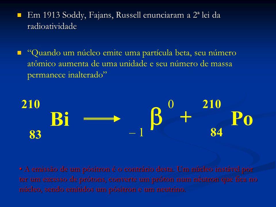 Em 1913 Soddy, Fajans, Russell enunciaram a 2ª lei da radioatividade Em 1913 Soddy, Fajans, Russell enunciaram a 2ª lei da radioatividade Quando um núcleo emite uma partícula beta, seu número atômico aumenta de uma unidade e seu número de massa permanece inalterado Bi Po 84 210 83 210 – 1  0 + A emissão de um pósitron é o contrário desta.