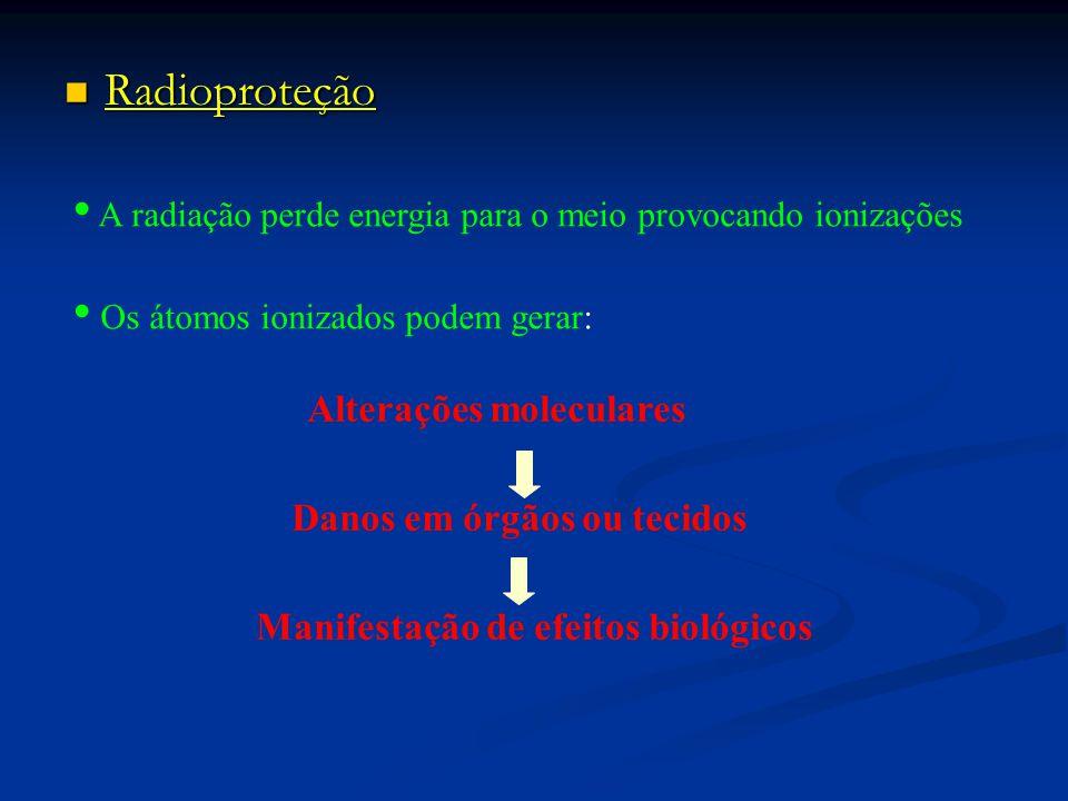 Radioproteção Radioproteção A radiação perde energia para o meio provocando ionizações Os átomos ionizados podem gerar: Alterações moleculares Danos em órgãos ou tecidos Manifestação de efeitos biológicos