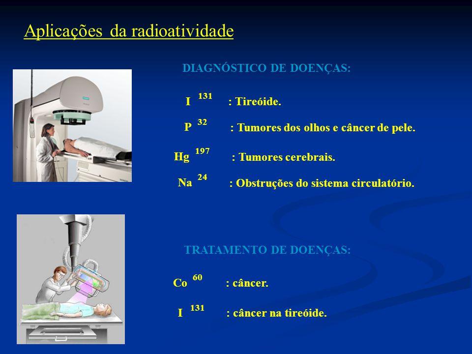 Aplicações da radioatividade DIAGNÓSTICO DE DOENÇAS: 131 I: Tireóide.