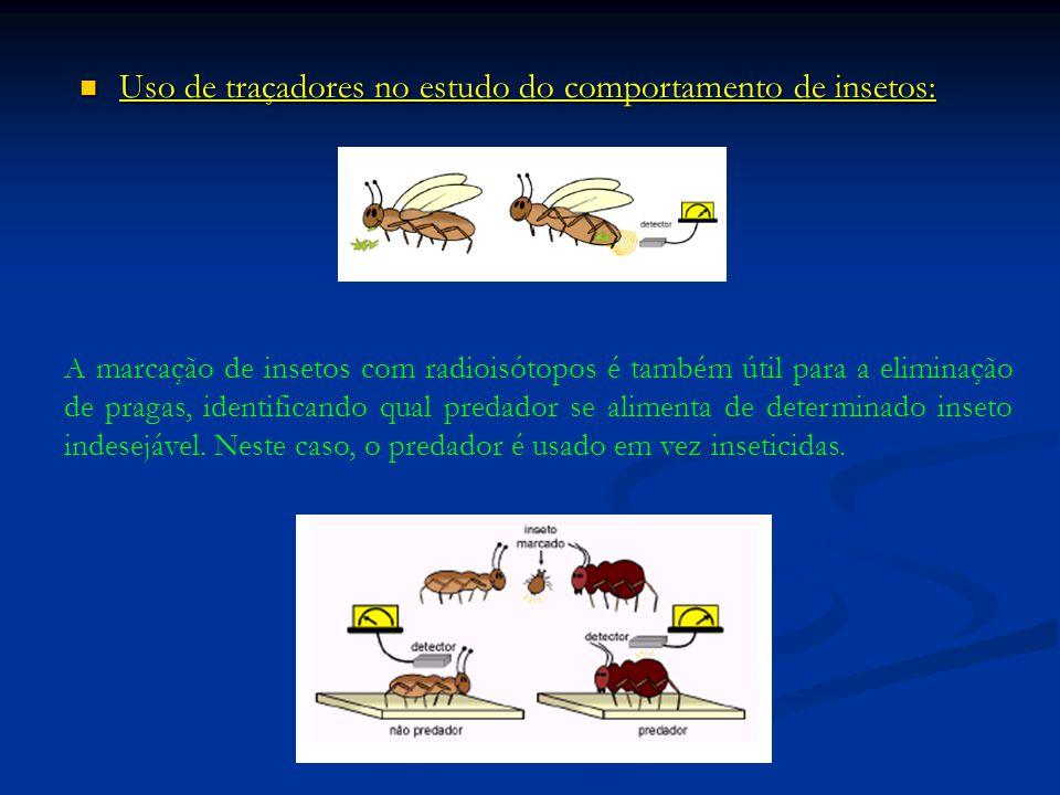 Uso de traçadores no estudo do comportamento de insetos: Uso de traçadores no estudo do comportamento de insetos: A marcação de insetos com radioisótopos é também útil para a eliminação de pragas, identificando qual predador se alimenta de determinado inseto indesejável.