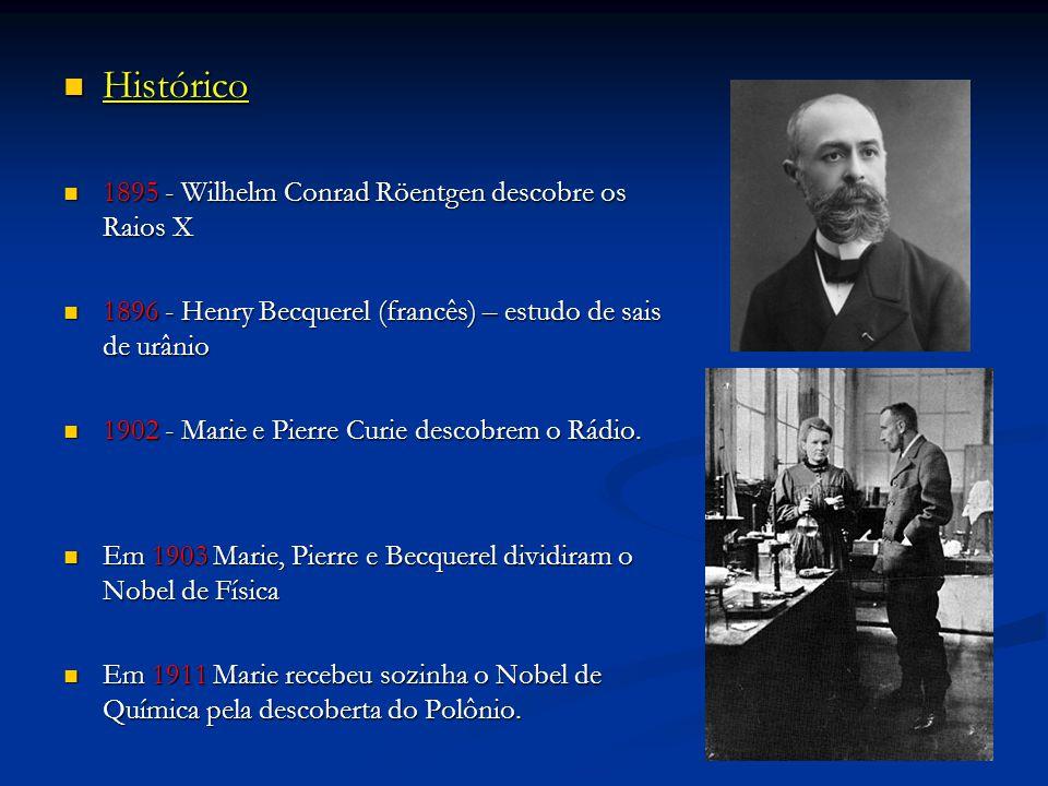 Histórico Histórico 1895 - Wilhelm Conrad Röentgen descobre os Raios X 1895 - Wilhelm Conrad Röentgen descobre os Raios X 1896 - Henry Becquerel (francês) – estudo de sais de urânio 1896 - Henry Becquerel (francês) – estudo de sais de urânio 1902 - Marie e Pierre Curie descobrem o Rádio.