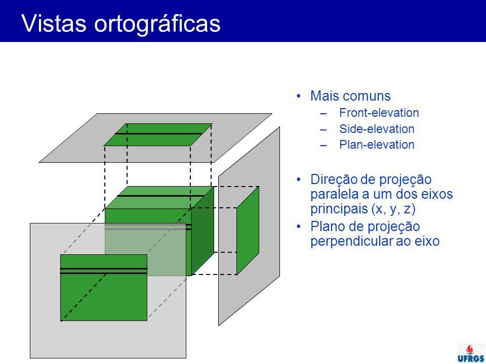 Vistas ortográficas Mais comuns –Front-elevation –Side-elevation –Plan-elevation Direção de projeção paralela a um dos eixos principais (x, y, z) Plan