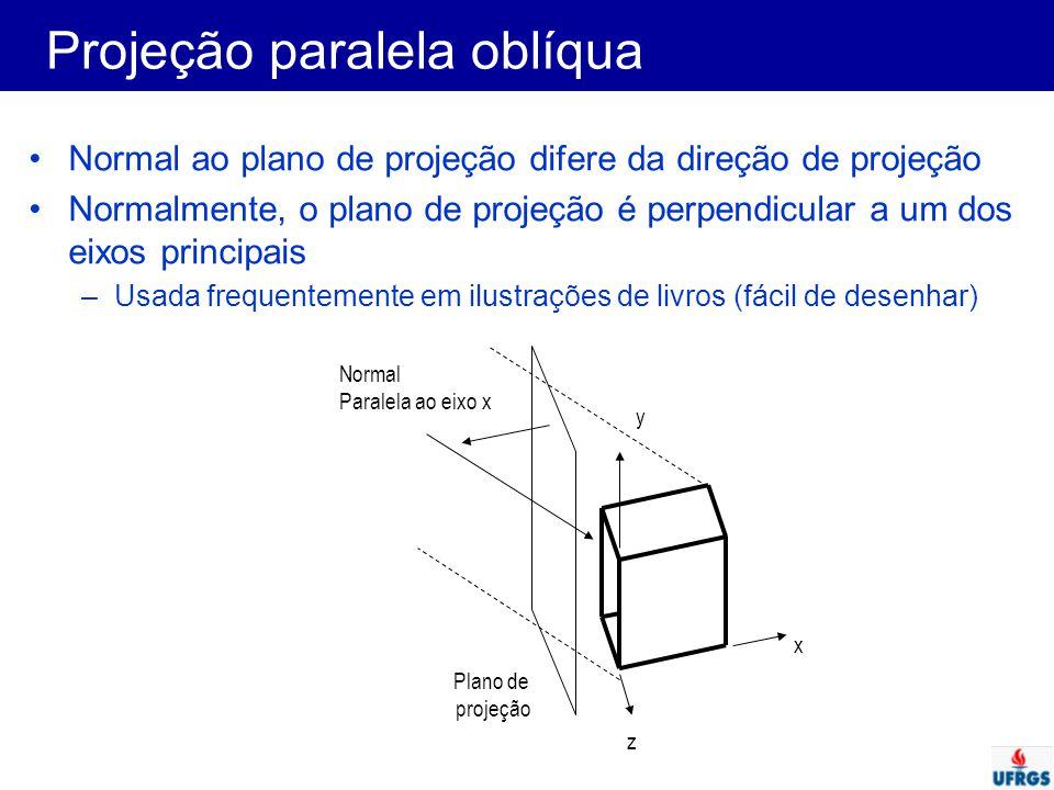 Projeção paralela oblíqua Normal ao plano de projeção difere da direção de projeção Normalmente, o plano de projeção é perpendicular a um dos eixos pr