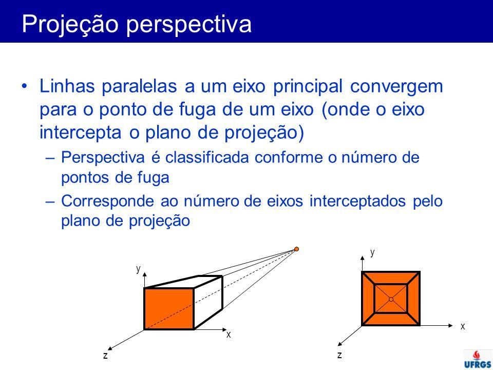 Projeção perspectiva Linhas paralelas a um eixo principal convergem para o ponto de fuga de um eixo (onde o eixo intercepta o plano de projeção) –Pers