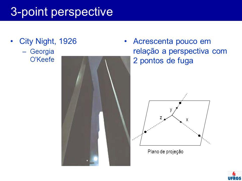 City Night, 1926 –Georgia O'Keefe Acrescenta pouco em relação a perspectiva com 2 pontos de fuga y z x Plano de projeção