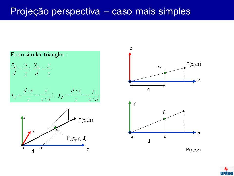 Projeção perspectiva – caso mais simples d x y z P(x,y,z) P p (x p,y p,d) z P(x,y,z) d z d y x xpxp ypyp