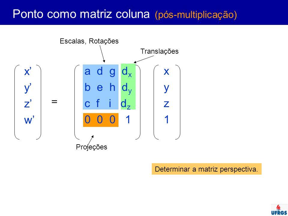 Ponto como matriz coluna (pós-multiplicação) x' y' z' w' a d g d x b e h d y c f i d z 0 0 0 1 xyz1xyz1 = Escalas, Rotações Translações Projeções Dete