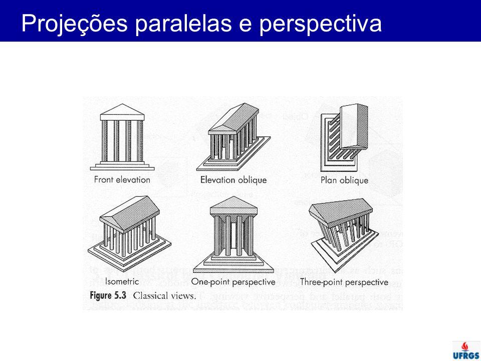 Projeções Pontos em R n  R n-1 Projeção definida por linhas projetoras ou projetantes –partem de um centro de projeção –atravessam cada ponto que define um objeto e –interceptam uma superfície de projeção
