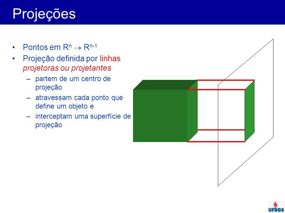 Projeções Usualmente em Computação Gráfica: –projeções planares: superfície de projeção é plana –projeções geométricas: linhas projetoras são representadas por retas Tipos (Paralela ou Perspectiva) A B A B Centro de projeção Perspectiva A B A B Centro de projeção no infinito Paralela
