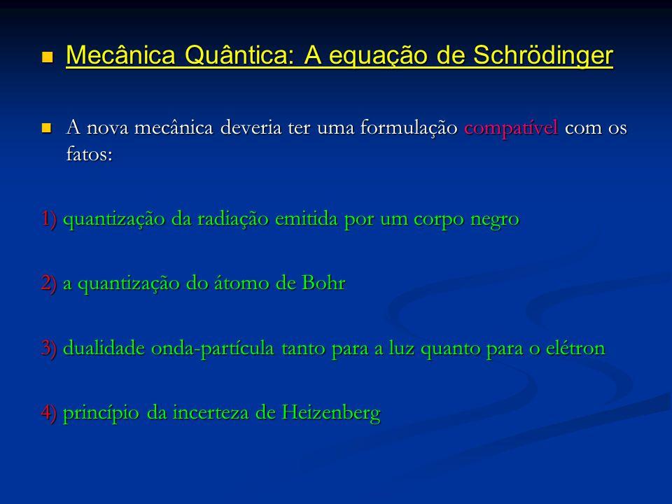 Mecânica Quântica: A equação de Schrödinger Mecânica Quântica: A equação de Schrödinger A nova mecânica deveria ter uma formulação compatível com os f