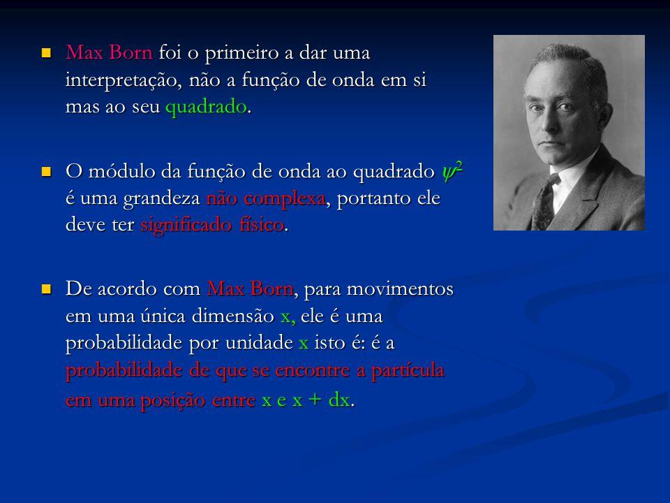 Max Born foi o primeiro a dar uma interpretação, não a função de onda em si mas ao seu quadrado. Max Born foi o primeiro a dar uma interpretação, não