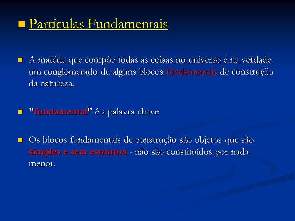 Partículas Fundamentais Partículas Fundamentais A matéria que compõe todas as coisas no universo é na verdade um conglomerado de alguns blocos fundame