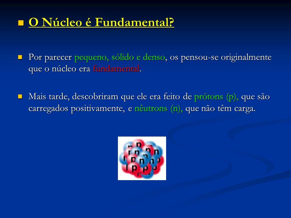 O Núcleo é Fundamental? O Núcleo é Fundamental? Por parecer pequeno, sólido e denso, os pensou-se originalmente que o núcleo era fundamental. Por pare