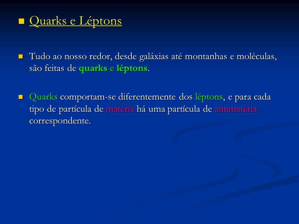 Quarks e Léptons Quarks e Léptons Tudo ao nosso redor, desde galáxias até montanhas e moléculas, são feitas de quarks e léptons. Tudo ao nosso redor,