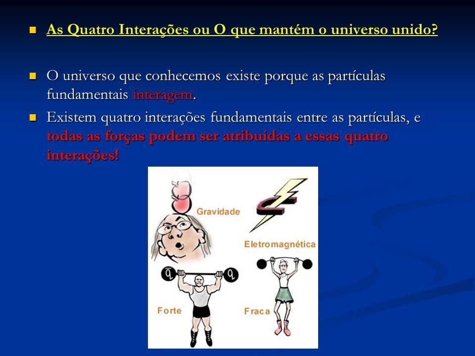 As Quatro Interações ou O que mantém o universo unido? As Quatro Interações ou O que mantém o universo unido? O universo que conhecemos existe porque