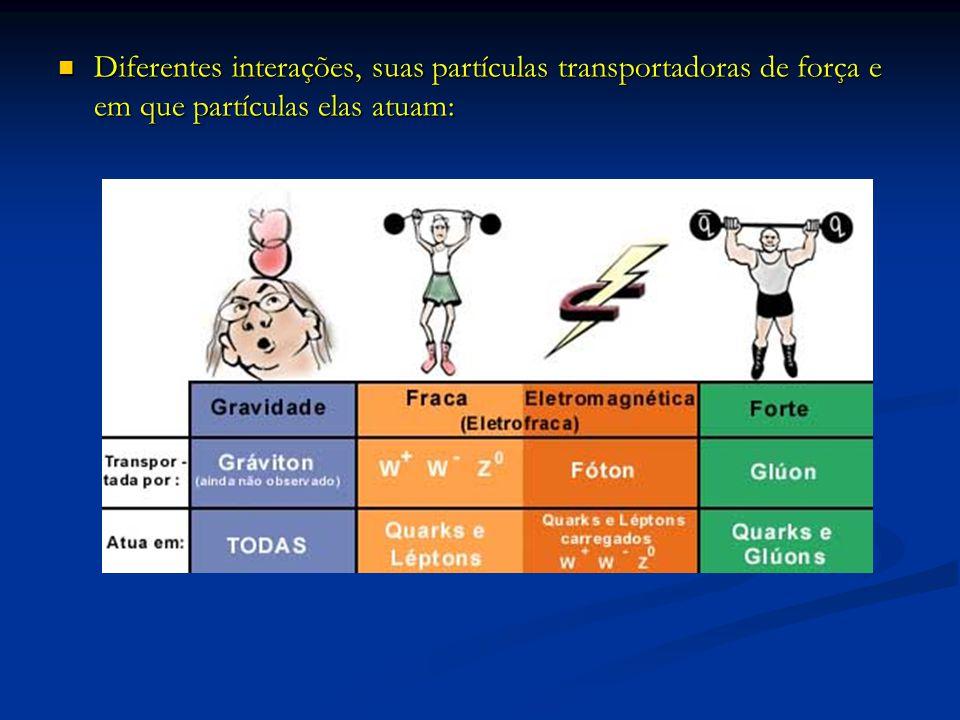 Diferentes interações, suas partículas transportadoras de força e em que partículas elas atuam: Diferentes interações, suas partículas transportadoras