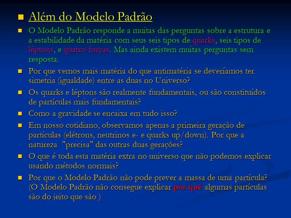 Além do Modelo Padrão Além do Modelo Padrão O Modelo Padrão responde a muitas das perguntas sobre a estrutura e a estabilidade da matéria com seus sei