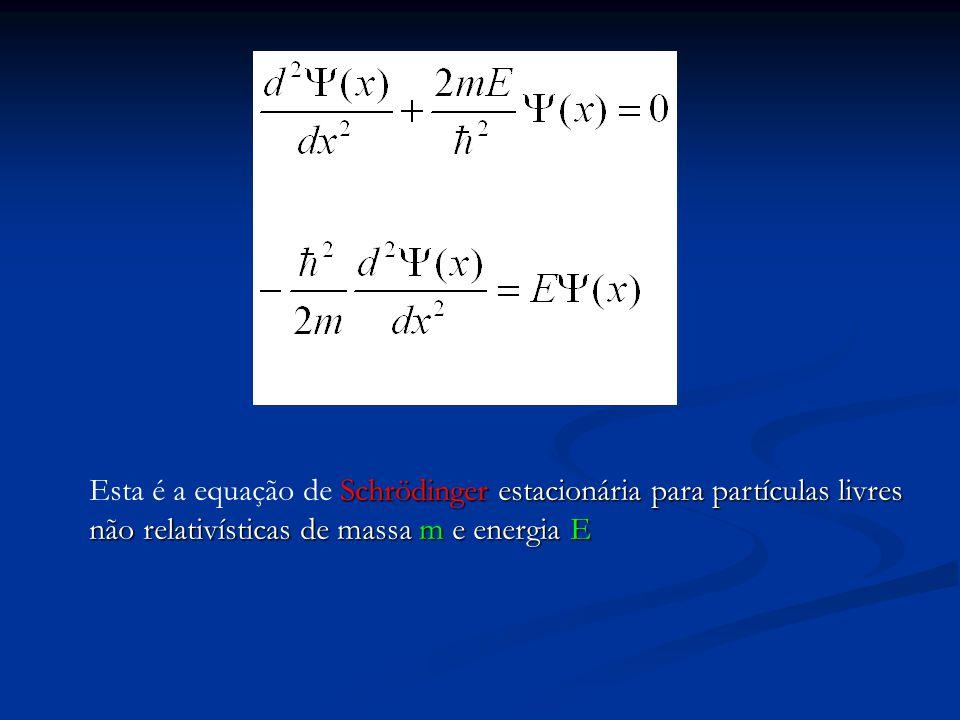 Se a partícula está sujeita a ação de um campo de forças, associado a uma energia potencial V(x) temos: Se a partícula está sujeita a ação de um campo de forças, associado a uma energia potencial V(x) temos: Schrödinger para estados estacionários de energia E na presença de energia potencial V(x).