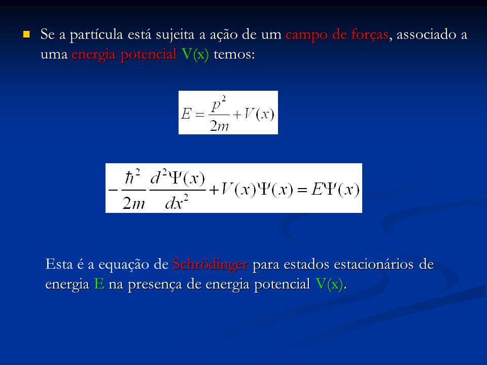 Se a partícula está sujeita a ação de um campo de forças, associado a uma energia potencial V(x) temos: Se a partícula está sujeita a ação de um campo