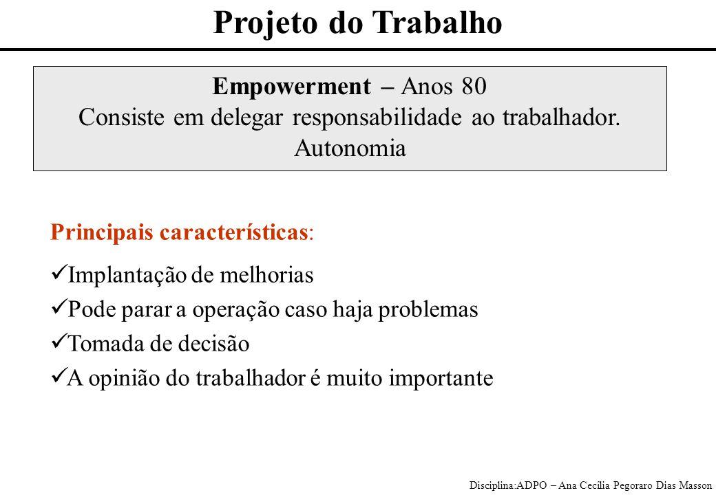 Disciplina:ADPO – Ana Cecília Pegoraro Dias Masson Empowerment – Anos 80 Consiste em delegar responsabilidade ao trabalhador.