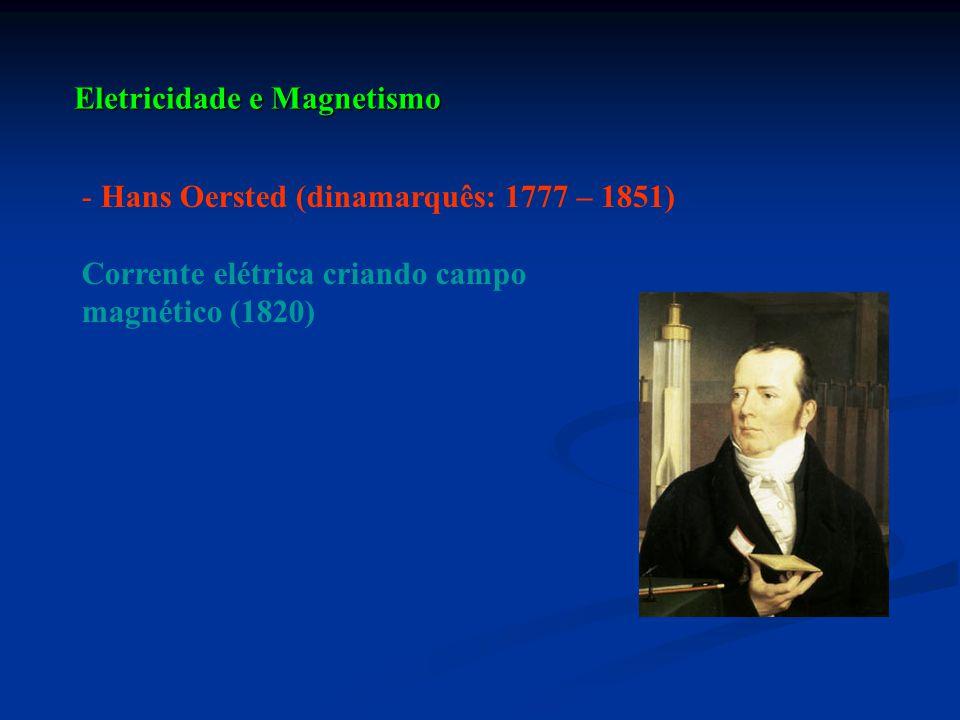 - Hans Oersted (dinamarquês: 1777 – 1851) Corrente elétrica criando campo magnético (1820)