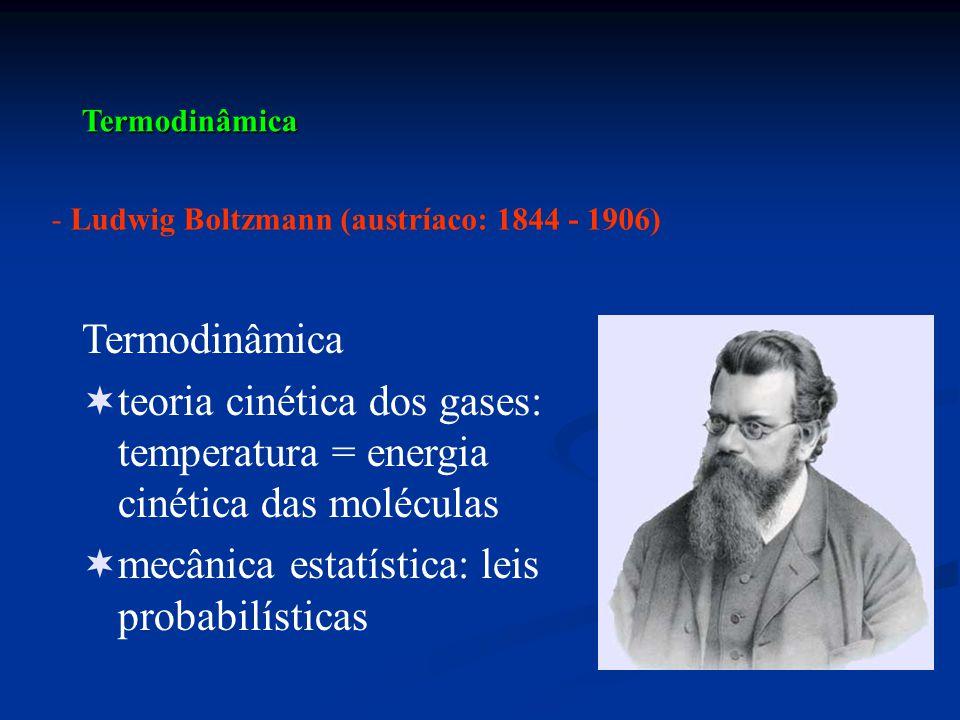 Termodinâmica - Ludwig Boltzmann (austríaco: 1844 - 1906) Termodinâmica  teoria cinética dos gases: temperatura = energia cinética das moléculas  me