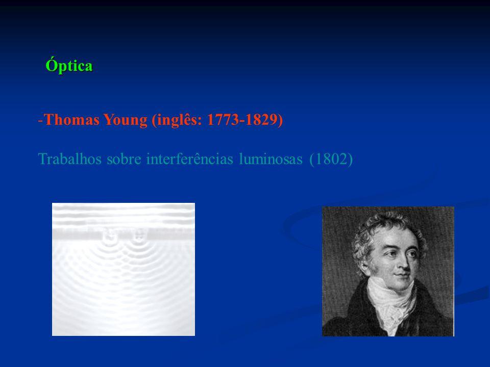 -Thomas Young (inglês: 1773-1829) Trabalhos sobre interferências luminosas (1802) Óptica