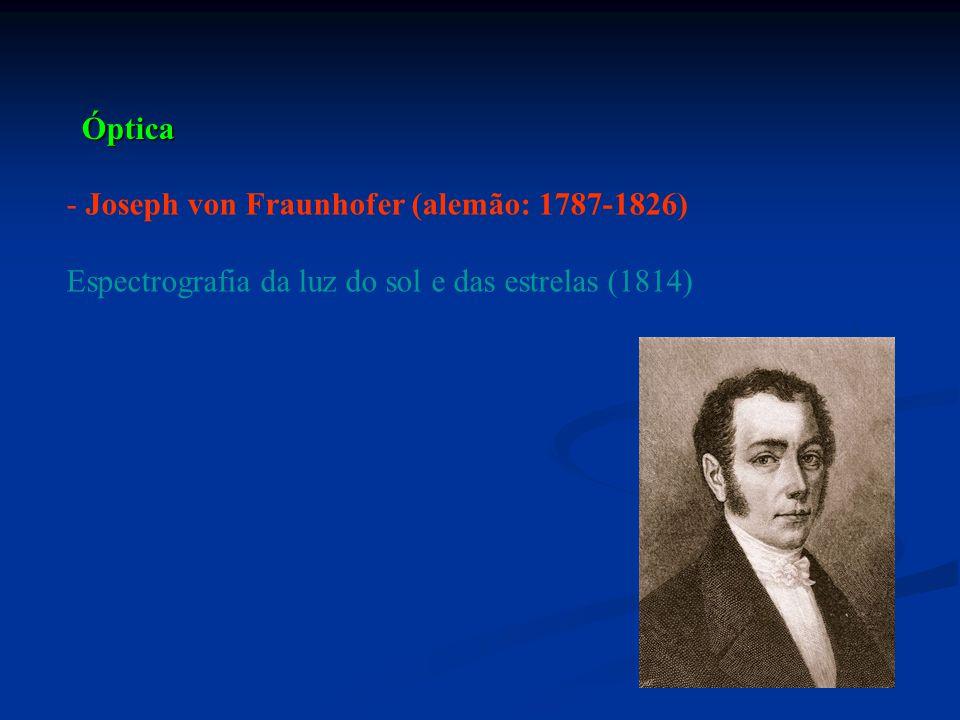 - Joseph von Fraunhofer (alemão: 1787-1826) Espectrografia da luz do sol e das estrelas (1814) Óptica