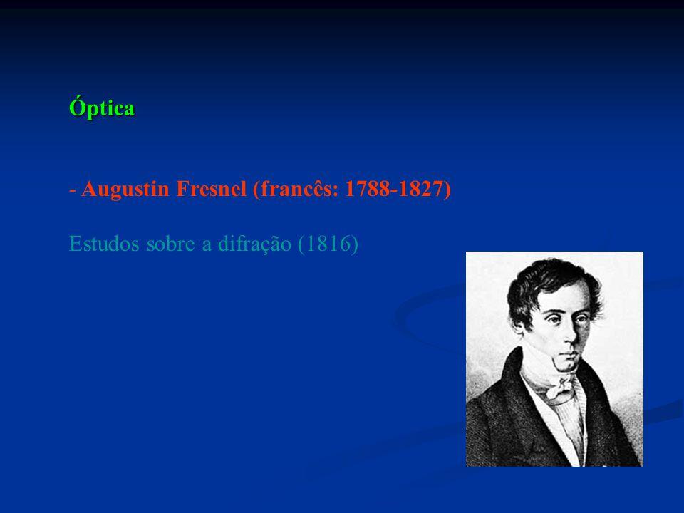 Óptica - Augustin Fresnel (francês: 1788-1827) Estudos sobre a difração (1816)