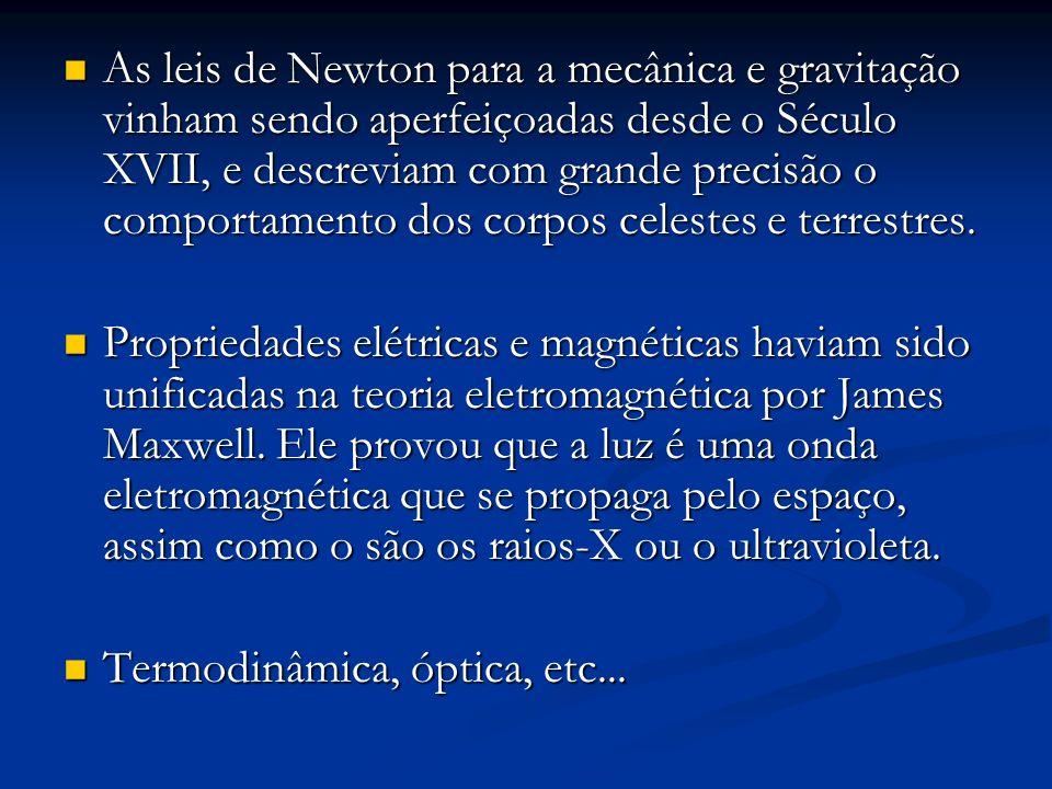 As leis de Newton para a mecânica e gravitação vinham sendo aperfeiçoadas desde o Século XVII, e descreviam com grande precisão o comportamento dos co
