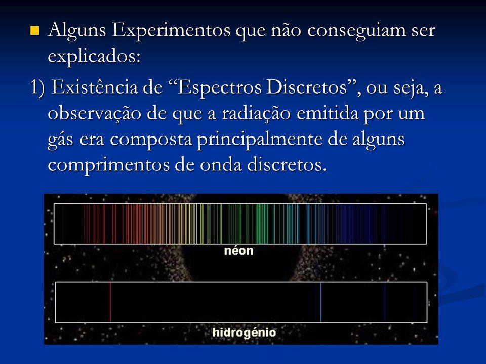 """Alguns Experimentos que não conseguiam ser explicados: Alguns Experimentos que não conseguiam ser explicados: 1) Existência de """"Espectros Discretos"""","""