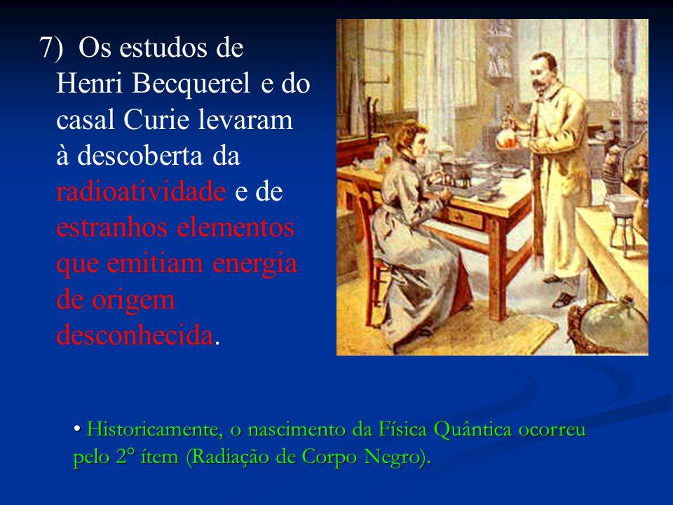 7) Os estudos de Henri Becquerel e do casal Curie levaram à descoberta da radioatividade e de estranhos elementos que emitiam energia de origem descon