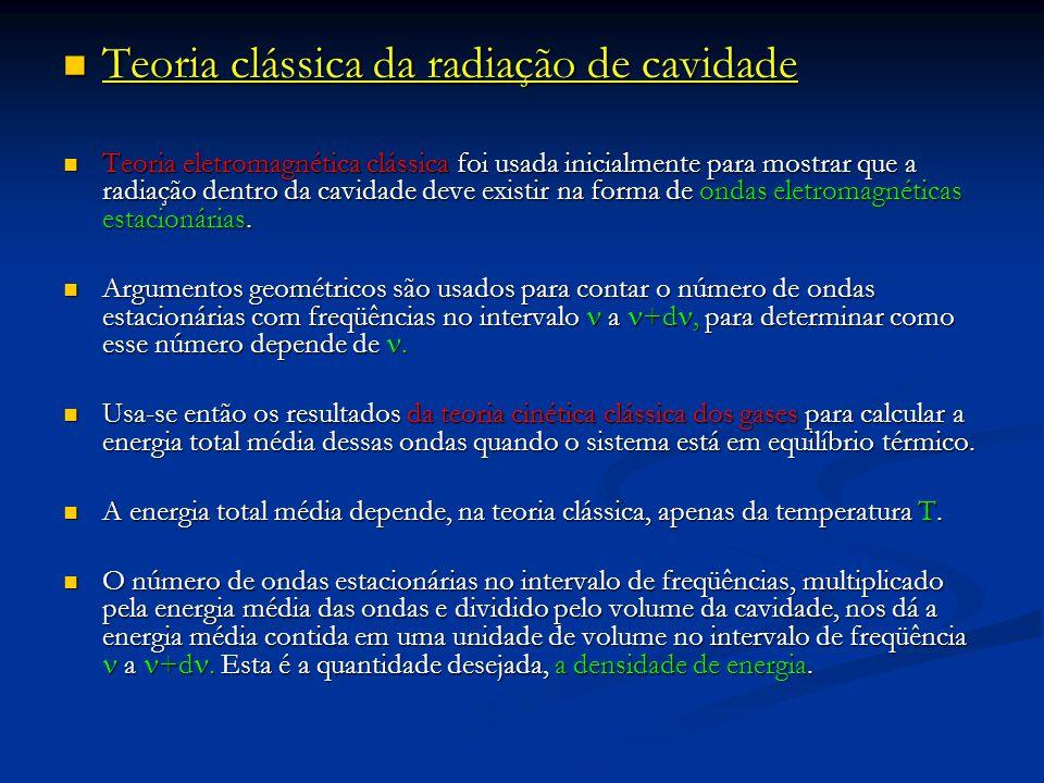Teoria clássica da radiação de cavidade Teoria clássica da radiação de cavidade Teoria eletromagnética clássica foi usada inicialmente para mostrar qu