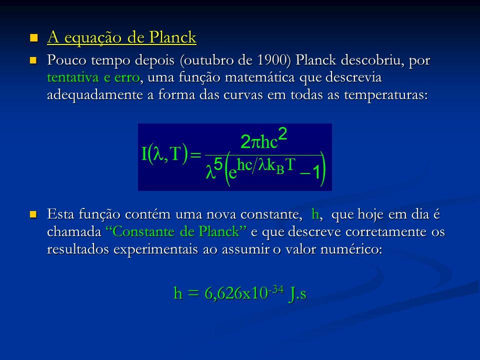 A equação de Planck A equação de Planck Pouco tempo depois (outubro de 1900) Planck descobriu, por tentativa e erro, uma função matemática que descrev