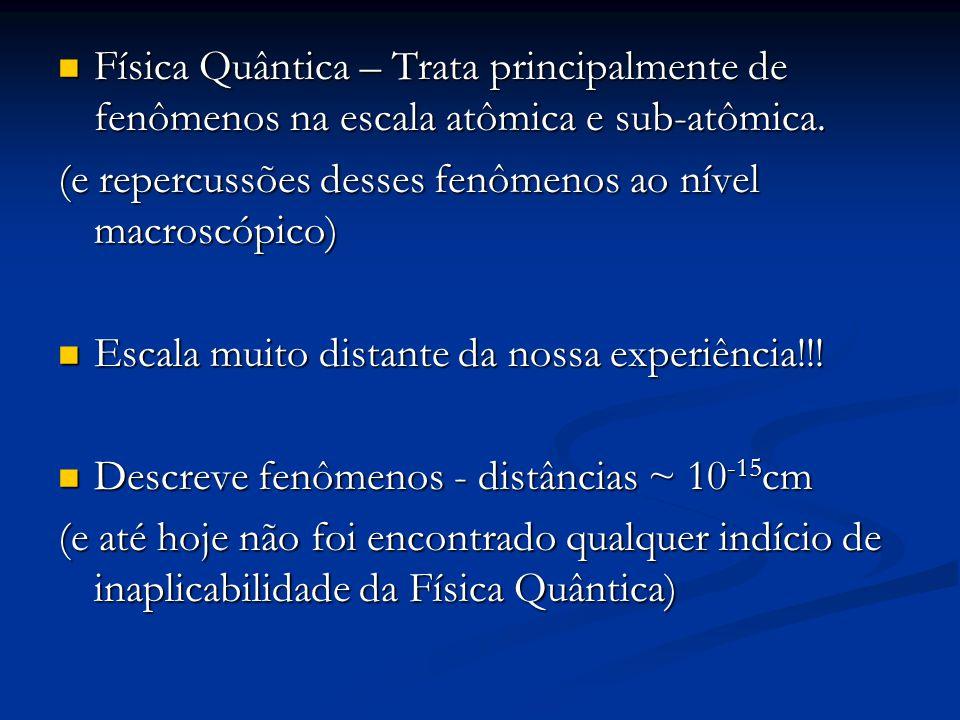 Física Quântica – Trata principalmente de fenômenos na escala atômica e sub-atômica. Física Quântica – Trata principalmente de fenômenos na escala atô