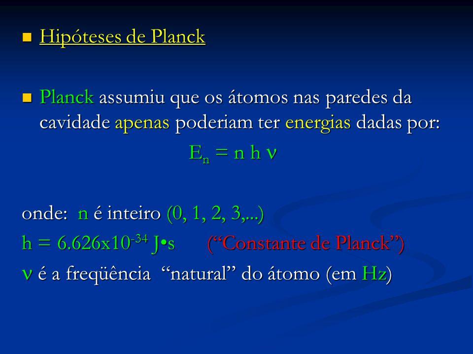 Hipóteses de Planck Hipóteses de Planck Planck assumiu que os átomos nas paredes da cavidade apenas poderiam ter energias dadas por: Planck assumiu qu